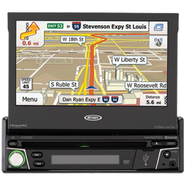 Jensen VX7010 1DIN Multimedia Receiver with Built-In Navigation and Bluetooth